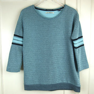 Maison Scotch Blue Denim Weave Striped Sweater